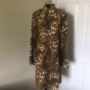 "INC Animal Print Bell Sleeve Dress : Bust 19"""